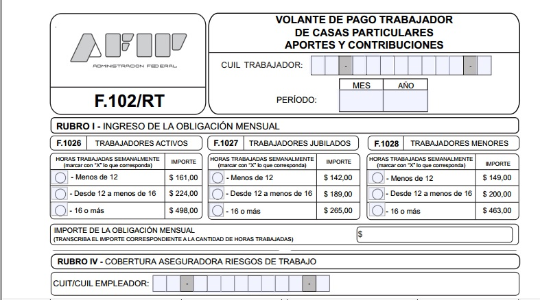 Servicio doméstico: cómo es el nuevo formulario 102/RT